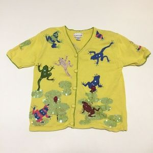 Ashlyn Kate Yellow Short Sleeve Frog Cardigan